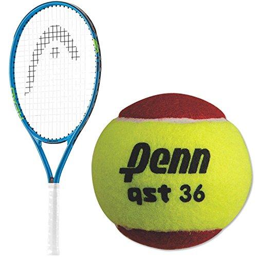 HEAD Speed 19 Inch Junior Boy's Tennis Racquet bundled with a 3 Pack of Penn QST 36 Red Felt Tennis Balls