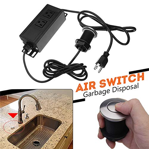 TOYECOTA - 32mm Garbage Disposal Air Switch Unit Assembly Push Button Sink Top Pressure Switch 110V US Plug for Home Kitchen Shower Room by TOYECOTA