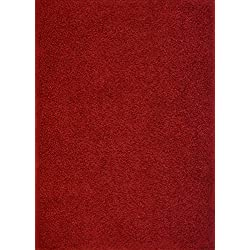 RugStylesOnline Shaggy Collection Solid Color Shag Area Rugs, Dark Red