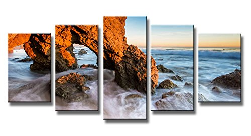 (Wieco Art Seascape Canvas Prints Wall Art Sunset Ocean Beach Pictures Paintings Living Room Bedroom Home Decorations Red Rock 5 Piece Modern Stretched Framed HD Sea Scenery Landscape Artwork)