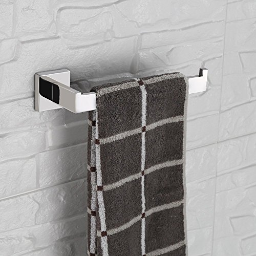 LuckIn Towel Bar Sets Stainles Steel, 4pcs Bathroom Hardware Set Wall Mounted Bath Accessory Sets Complete with 24 Inch Towel Bar Rod, Toilet Paper Holder, Towel Ring, Robe Hook by LuckIn (Image #4)