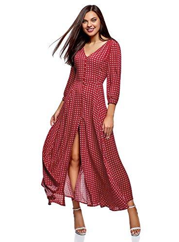 oodji Longue Robe Ultra Femme Rouge 4910g Boutonne wTqgpAvw