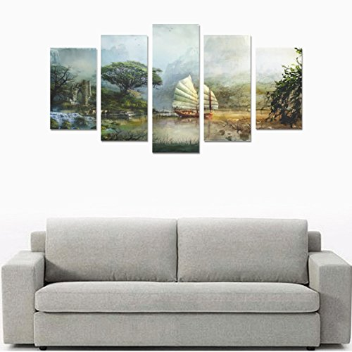 Nature Landscape Canvas Print Boat sailing scenery mountain lake water ruins fantasy Hair Salon Wall Painting Design Living Room Bedroom Custom Mural 5 Pieces Canvas Oil Painting (No Frame) by Personalized Canvas Printing