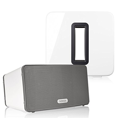 Sonos PLAY:3 (White) Multi-Room Digital Music System Bundle & Sonos Wireless SUB (White)