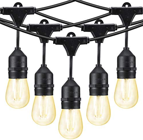 Joomer LED Outdoor String Lights Commercial Grade Edison Vintage LED Bulbs 15 Hanging Sockets, UL Listed Heavy-Duty Waterproof for Patio, Yard, Gazebo, Porch, Cafe, Bistro, Outdoors, E26 Base, 2W Bulb
