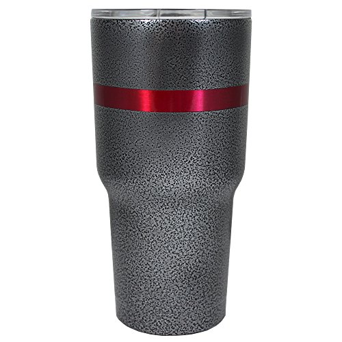 RTIC Red Line on Silver Black Vein 30 oz Stainless Steel Tumbler Cup