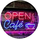 AdvpPro 2C Café Open Coffee Kitchen Decoration Bar Beer Dual Color LED Neon Sign Blue & Red 12'' x 8.5'' st6s32-i2011-br