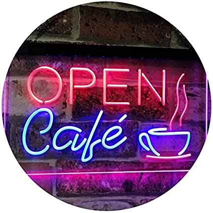AdvpPro 2C Café OPEN Coffee Kitchen Decoration Bar Beer Dual Color LED Neon Sign Red & Yellow 300mm x 210mm st6s32-i2011-ry ADVPRO