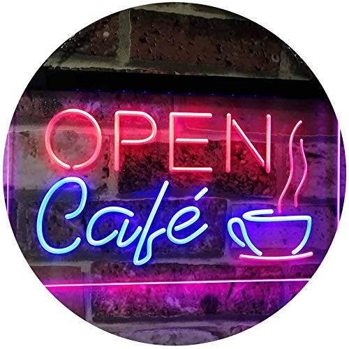 ADVPRO Café Open Coffee Kitchen Decoration Bar Beer Dual Color LED Neon Sign Blue & Red 12 x 8.5 Inches st6s32-i2011-br