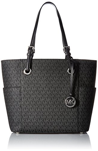 (Michael Kors Women's Jet Set Item Ew Signature Tote, Black)