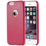 iPhone 6s Plus Case (5.5) Pansy® Premium Ultra Thin PU Leather Case [Soft Touch] [Snug Fit] Flexible, Slim and Lightweight Luxury Handcrafted Design (Rose Red)
