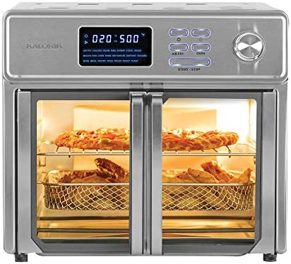 Kalorik 26 QT Digital Maxx Air Fryer Oven with 9 Accessories, Roaster, Broiler, Rotisserie, Dehydrator, Oven, Toaster, Pizza Oven and Warmer. Includes Cookbook. Sears as much as 500⁰F. Extra Large Capacity, All in One Appliance. Stainless Steel. AFO 46045 SS