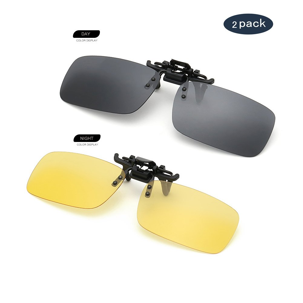 AUUS Clip on Sunglasses Flip Up Polarized Sunglasses Eyeglass by, Frameless Rectangle lens [2-Pack] UV400 Anti Glare Night Vision Glasses for Driving Fishing Cycling Walking Outdoor