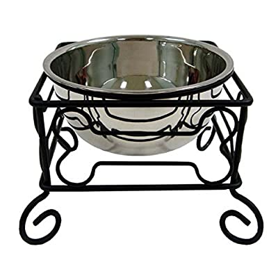 YML Wrought Iron Stand with Single Stainless Steel Feeder Bowl