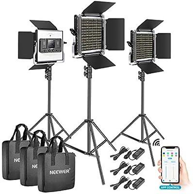 Neewer 3-Pack 528 LED Luz Video Metal Regulable Bicolor 3200K-5600K Kit Iluminación Fotografía con Sistema Control Inteligente App Pantalla LCD y Soporte Luz para Estudio Exterior: Amazon.es: Electrónica