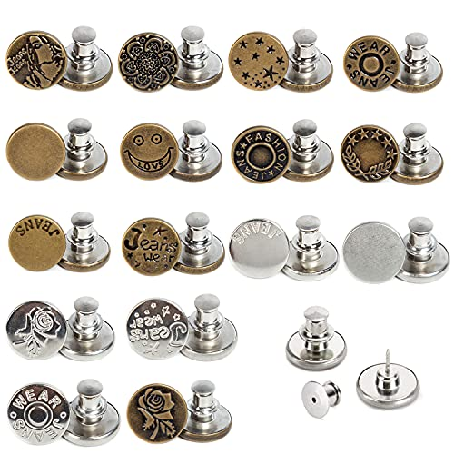 J.CARP 16 PCS 17mm Upgraded Button Pins for Jeans, Instant Buttons, Perfect Fit Jean Button Replacement, Adjustable Jean Button Pins Metal Clips Snap Tack