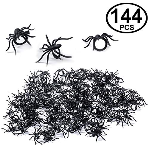 Tigerdoe Spider Rings - Spider Party Favors - Plastic Spider Rings - 144 Black Spider Rings -