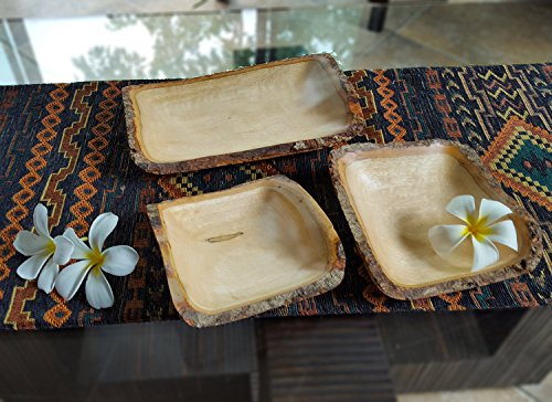 roro Handcarved Rectangular Mango Wood Rectangular Serving Tray with Bark, 3 Piece by roro (Image #1)