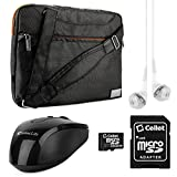 VanGoddy NineO Collection Messenger Bag for Fujitsu LifeBook / CELSIUS 15.6-inch Laptops (Gray & Orange) + Black Wireless USB Mouse + Pink VG Headphones + 16GB Memory Card