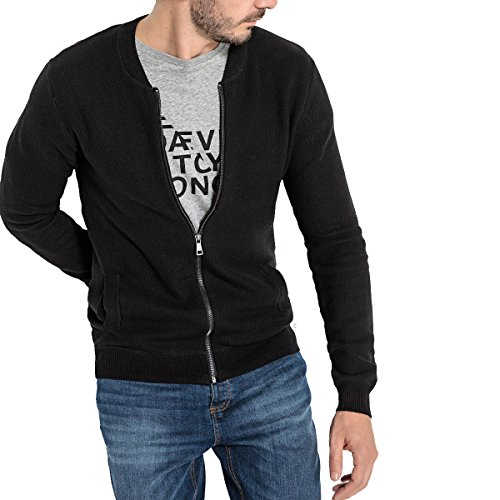 6d5e4b4d370a7 La Redoute Collections Mens Zip-up Cardigan with Bomber-Style Collar in  Cotton Black Size L
