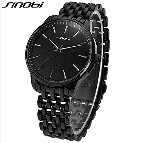 SINOBI Men Stylish Business Watches, Classic Black Military Steel Mesh Band Clock Watch Men reloj