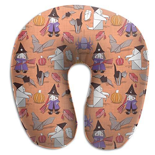 Juewu-474 Comfortable Memory Foam Travel Pillow, Halloween Witches Ghosts Pumpkins Spider Neck Pillow for Airplane, 360 Degree -
