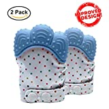 Baby Teething Mittens Soothing Pain Relief Teether with Non-Scratch Button Fastener / Travel Bag 3-12 months Babies Shower Gifts Mitt Silicone Toys by MaBaby (Blue)