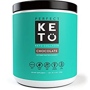 Perfect Keto Chocolate Protein Powder- Grass Fed Collagen Peptides Low Carb Keto Drink Supplement With MCT Oil Powder- Best as Keto Drink Creamer or added to Ketogenic Diet Snacks. Paleo & Gluten Free