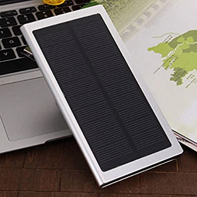 Slim Solar Charger, Coversuit 30000mAh Dual USB Ultra thin Lightweight Metal Alloy Solar Battery Charger External Battery Pack Phone Charger Power Bank with Flashlight