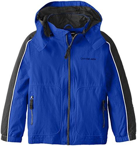 Calvin Klein Little Boys' Max Capacity Water Resistant Shell Jacket, Turksea, X-Large (Calvin Klein Jacket Boys)