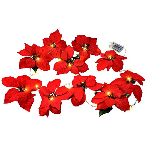 BANBERRY DESIGNS Poinsettia Flower Lighted Garland -Approx 90 Inches Red Poinsettias LED Lights - Christmas Decorations - Battery Operated Decorative Floral Accessories (Red Lights Christmas Flower)