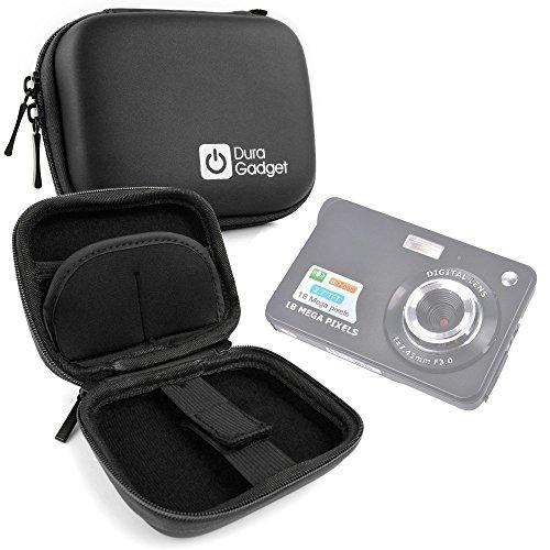 Black Hard EVA Shell Case with Carabiner Clip & Twin Zips for AmazinGear 2.7 inch TFT LCD HD Mini Digital Camera - by DURAGADGET