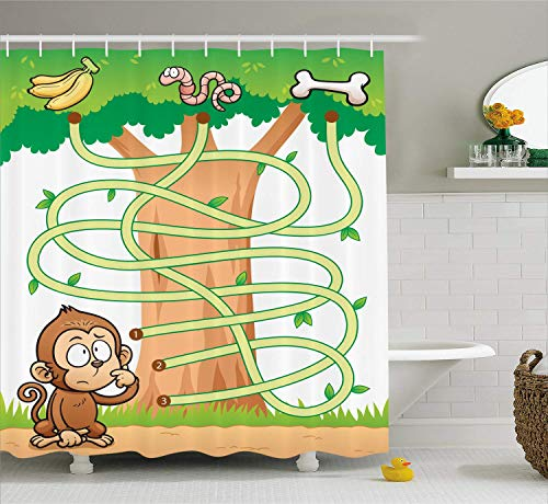 Nursery Activity Shower Curtain Curious Monkey Trying to Reach The Banana Maze Design Pathway Funky Forest Cloth Fabric Bathroom Decor Set with Hooks Green Brown -
