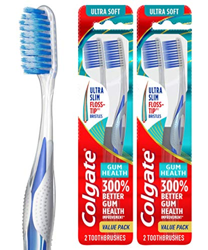 Colgate Gum Health Extra Soft Toothbrush for Sensitive Gums with Deep Cleaning Floss-Tip Bristles – 4 Count