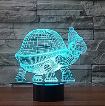 Animal Tortoise 3D Lamp LED light Night Acrylic Table Touch Child Gifts 7 Color