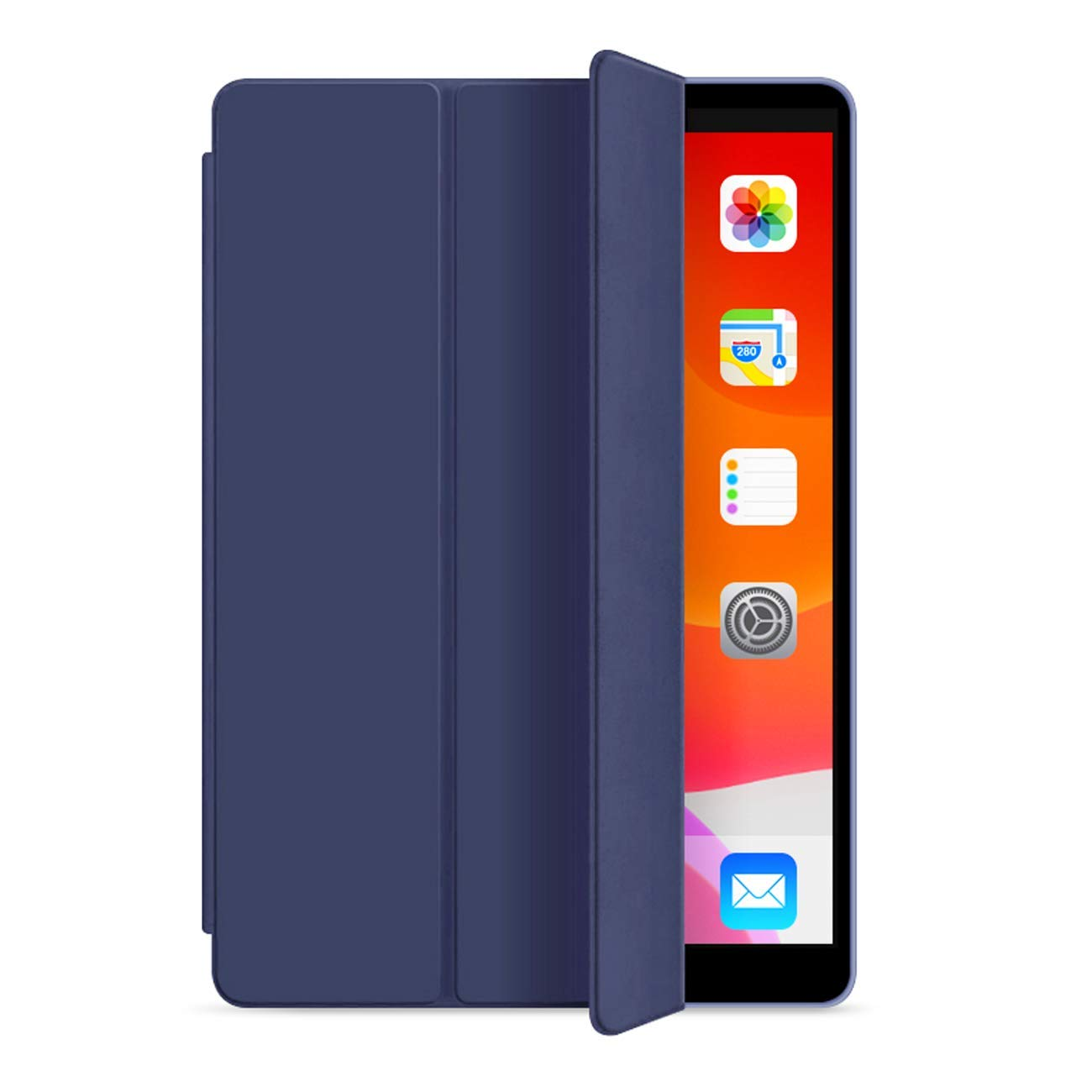 ORIbox Case for New iPad 7th 10.2''(2019), Lightweight Trifold Stand Smart Cover with Auto Sleep/Wake Function, Soft TPU Back Cover, 10.2 Inch, Dark Blue