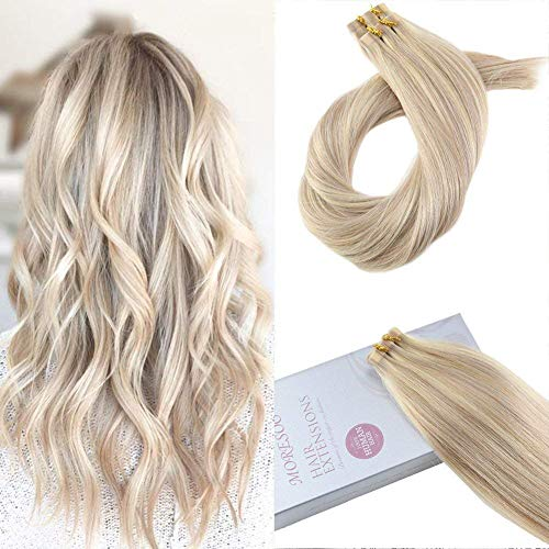 Moresoo 18 Inch Tape in Hair Extension 100% Remy Hair Color #18 Ash Blonde Mixed #613 Bleach Blonde Soft Real Human Hair 20PCS 50G Seamless Glue in