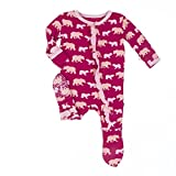 KicKee Pants Little Girls Ruffle Footie, Rhododendron Brown Bear, 0-3 Months