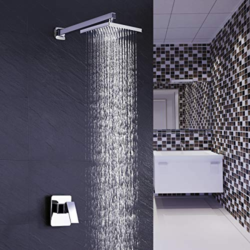 (KES Shower Valve and Trim Kit Combo Concealed Brass Shower Faucet Body with Faceplate Rainfall Shower Head and Supply Arm Single Handle Modern Square Polished Chrome, XB6210-CH)