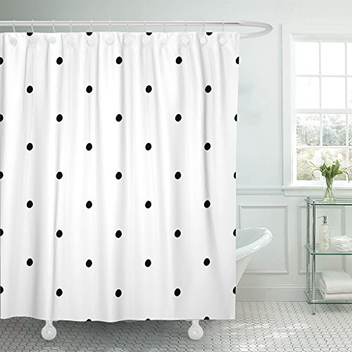 (Emvency Shower Curtain Small Abstract Polka Dot Pattern with Trendy Cute Black and White Monochrome Bubble Child Waterproof Polyester Fabric 72 x 72 inches Set with Hooks)