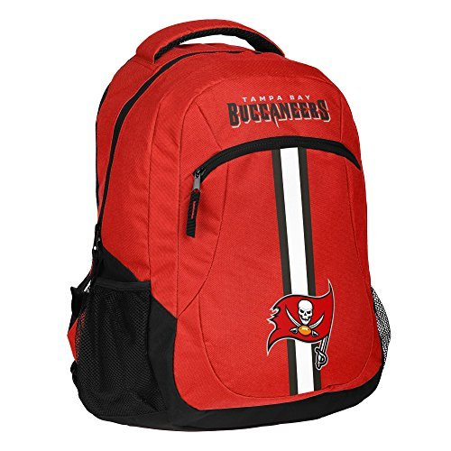 1pc Large NFL Buccaneers Backpack, Stripe Logo Football Themed Strap Back Sports Pattern, Polyester, TB Merchandise Athletic American Team Spirit Fan School Bag Pirates Red Black White by Unknown