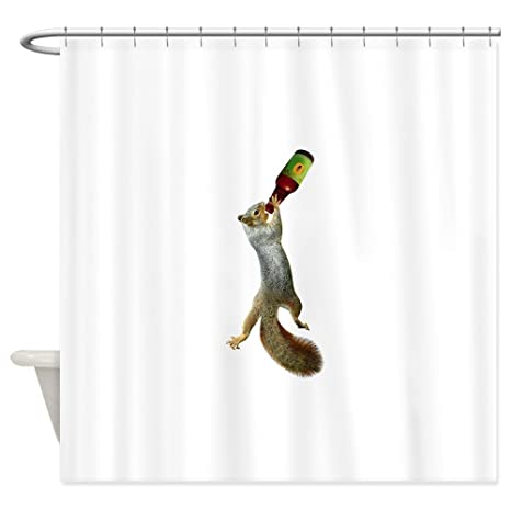 CafePress Squirrel Drinking Beer Shower Curtain Decorative Fabric 69quot