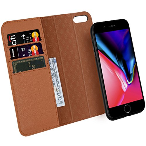 iPhone 7 8 Plus Wallet Case ZOVER Detachable Genuine Leather Luxury Series Support Wireless Charging Magnetic Car Mount Holder Kickstand Feature Card Slots Magnetic Closure Gift Box Brown