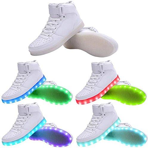 Joansam Women & Men High Top Usb Ricarica Scarpe Led Lampeggianti Sneakers Bianche
