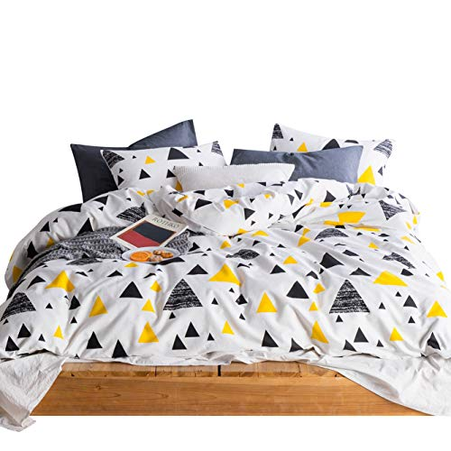 Print Bedding Set (SUSYBAO 3 Pieces White Duvet Cover Set 100% Natural Cotton Queen Size Black Yellow Triangle Print Bedding Set 1 Duvet Cover 2 Pillowcases Hotel Quality Soft Breathable Modern Durable with Zipper Ties)