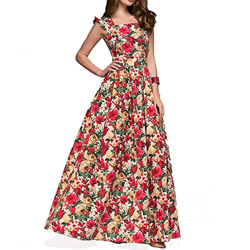 ZIMOXUAN Women's Sleeveless Floral Print Casual Cocktail Party Maxi (Wear Cocktail Party)