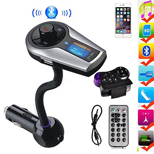 FAVOLCANO Bluetooth Wireless MP3 Player Music Control FM Transmitter Hands-Free Calling Car Kit Charger Talk A2DP USB SD MMC with Steering Wheel Control (Steering Wheel Controls Adapter compare prices)