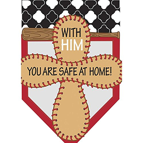 Cross Safe at Home Baseball 42 x 29 Pendant Shape Double Applique Large House Flag