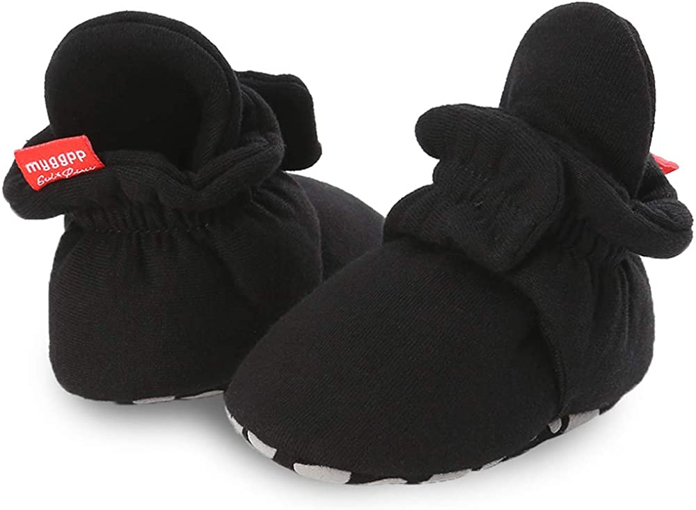 Luxe Girl Cotton Baby Booties with Snaps Gribbers Soft Sole Crib Shoes