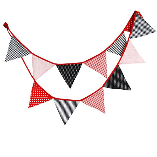 5pcs 3.3m Cotton Fabric 12 Triangle Flags Double Sided Pe...